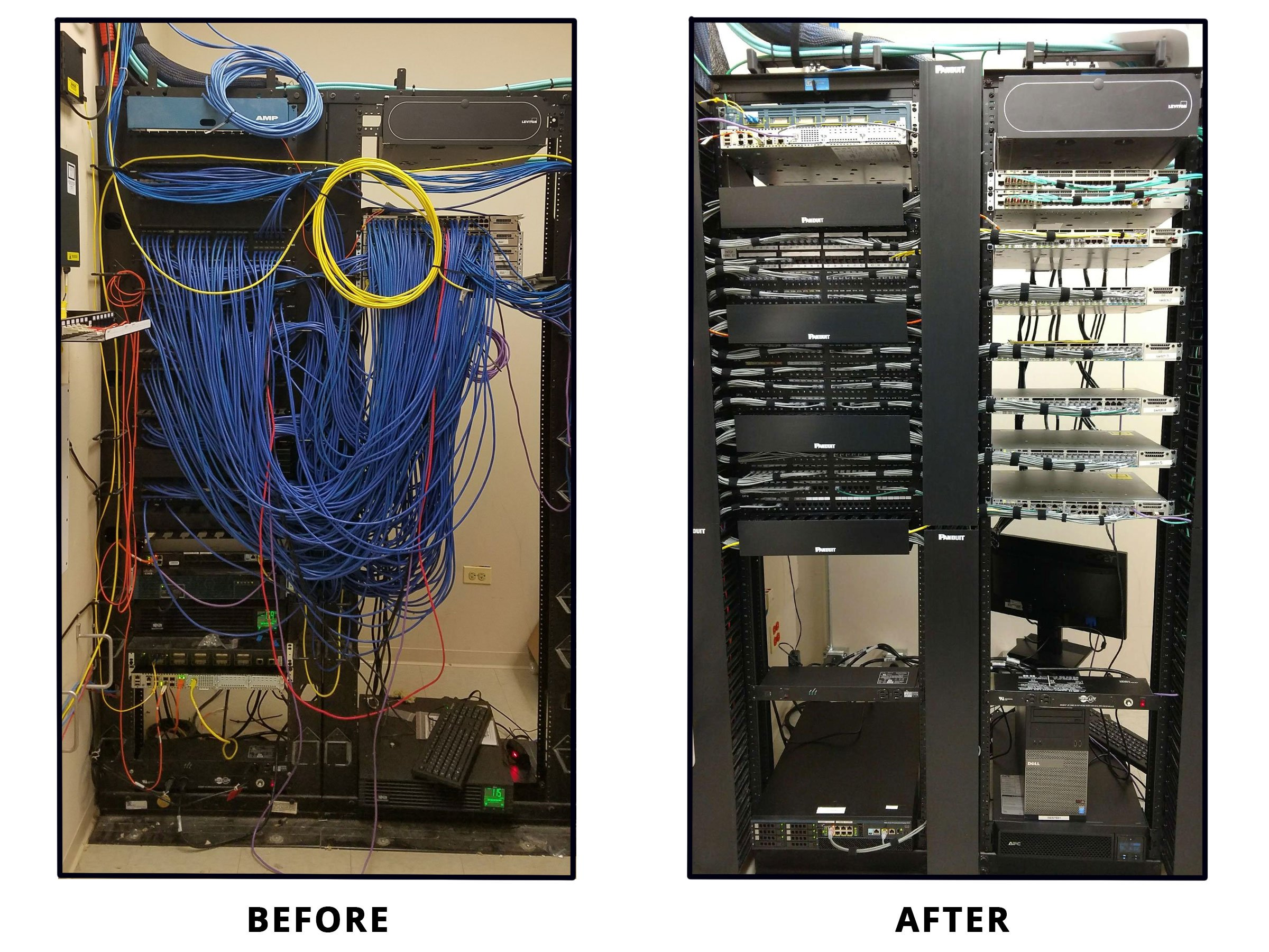 photo of before and after network wiring center cleanup