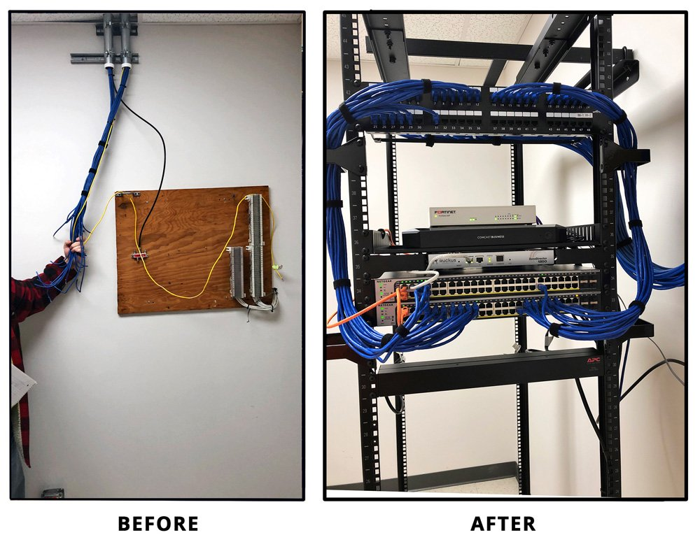 Cabling Installation in Elgin, IL, Before and After