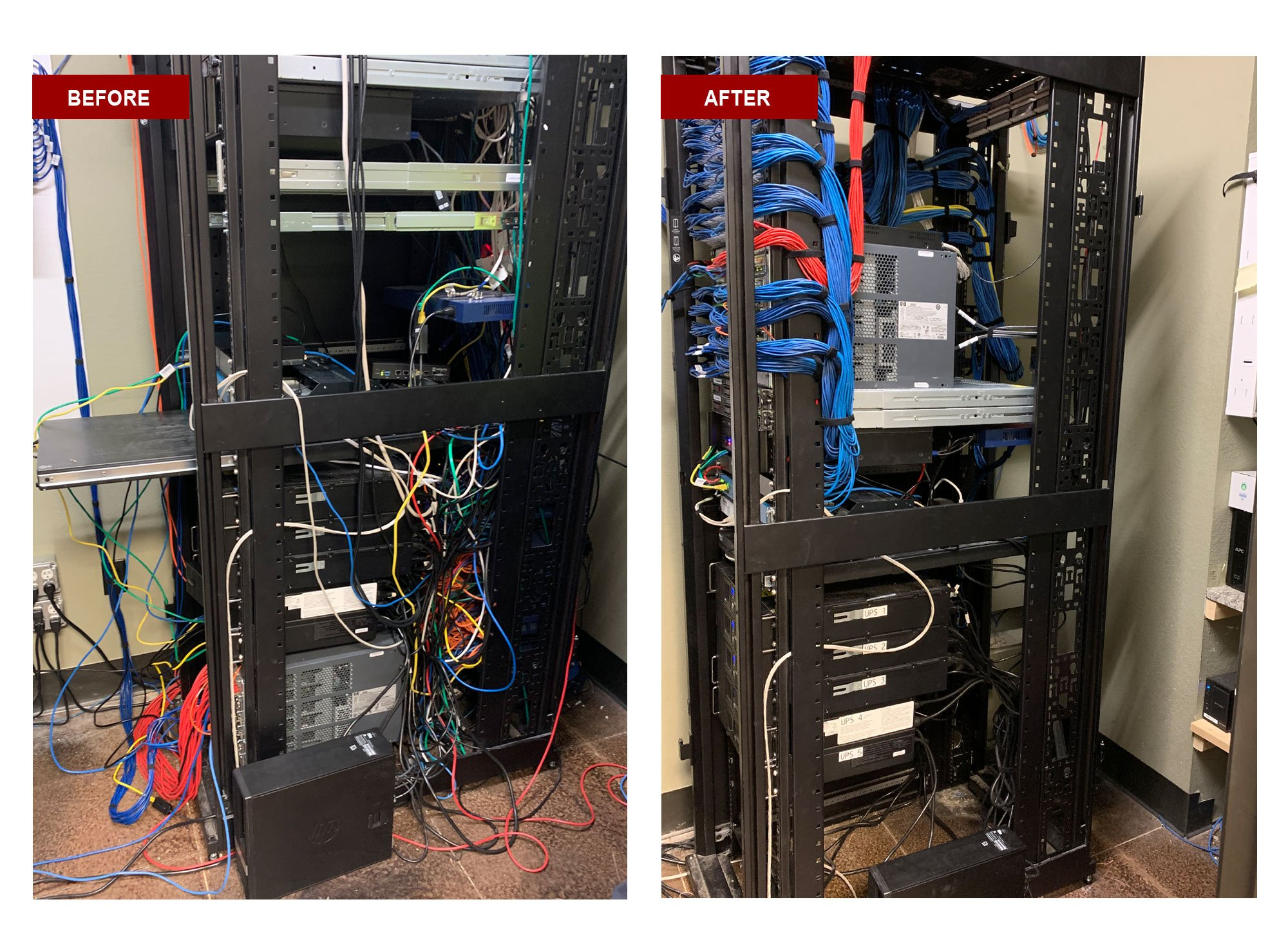 front of network wiring center cleanup