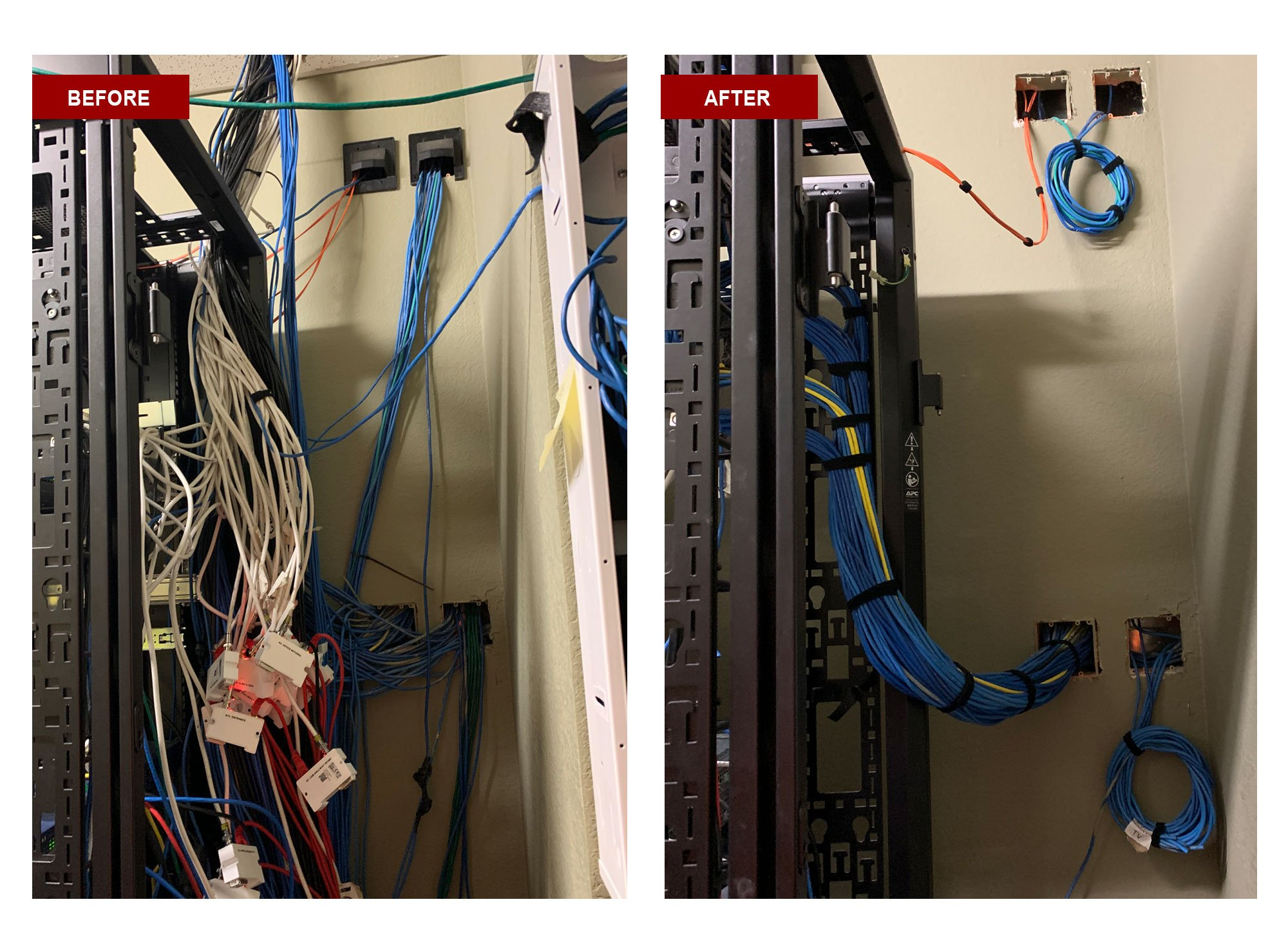 wiring install with cables in place